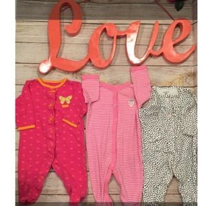 3 Carter's size 6 month footie sleepers bundle